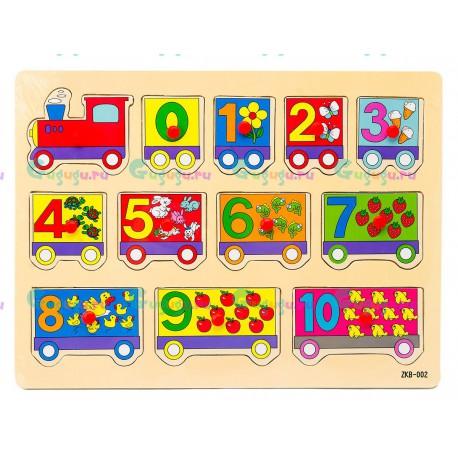 Деревянная развивающая яркая игрушка вкладыши Цифры-паровозик