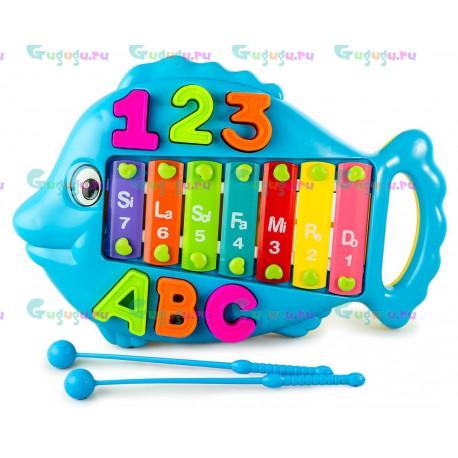 Детская музыкальная игрушка Металлофон Рыбка Голубая со съемными буквами и цифрами. Купить детские игрушки с доставкой по России