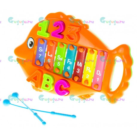 Детская музыкальная игрушка Металлофон Рыбка Оранжевая со съемными буквами и цифрами. Купить игрушки с доставкой по России