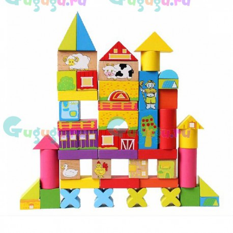 Яркий детский деревянный конструктор Лесная сказка: Ферма (52 детали). Купить детские игрушки с доставкой по всей России
