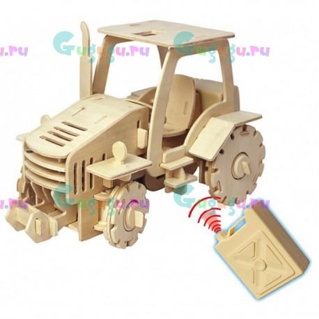Деревянный интерактивный конструктор GOOD HAND Трактор с мотором на радиоуправлении. Купить конструктор с доставкой по России