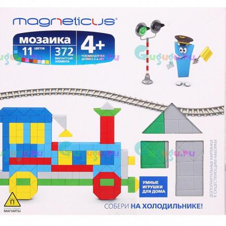 Развивающая магнитная мозаика MAGNETICUS: Поезд (372 элемента, 11 цветов). Купить конструктор с доставкой по России