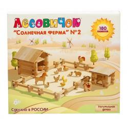 Деревянный конструктор - Солнечная ферма 2 (180 деталей, 12 животных)