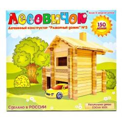 Детский деревянный развивающий конструктор Разборный домик 2 (130 деталей). Купить конструктор с доставкой по России