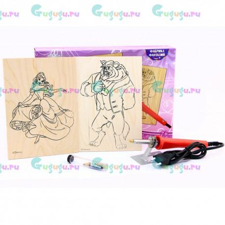 Детский набор для выжигания Disney: Красавица и Чудовище, содержит 2 картины, выжигательный прибор и сменные насадки
