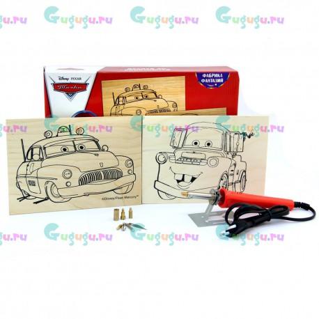Детский набор для выжигания Disney - Тачки: Шериф и Мэтр, содержит 2 картины, выжигательный прибор и сменные насадки