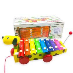 Деревянная развивающая игрушка металлофон-каталка Собачка на веревочке с хвостиком. Купить с доставкой по России