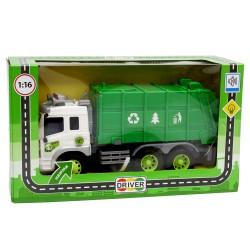 Машина грузовик-мусоровоз с фрикционным механизмом (свет и звук)