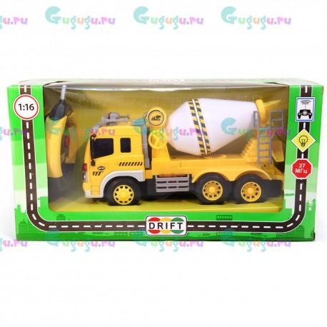 Детский интерактивный грузовик-бетономешалка на радиоуправлении с фрикционным механизмом (1:16). Доставка по всей России.