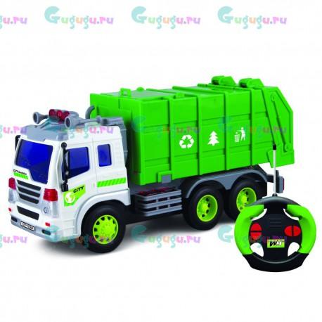 Детский интерактивный грузовик-мусоровоз на радиоуправлении с фрикционным механизмом (1:16). Доставка по всей России.