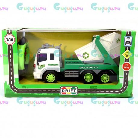 Детский интерактивный грузовик-мусоровоз на радиоуправлении с фрикционным механизмом (1:16). Доставка по всей России