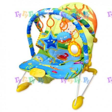 Шезлонг детск., 60x50x51 см, 2дуги, 4 игрушки, вибро, музыка, Новорожденка и малыши