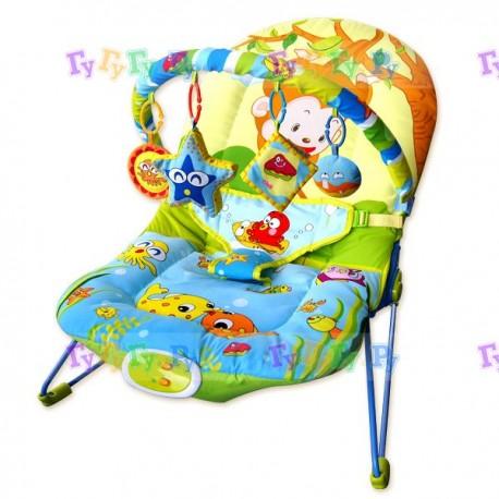 Шезлонг детский (66x50x51 см, 1 дуга, 4 игрушки, вибро, музыка)