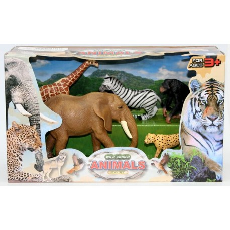 Набор фигурок Дикие животные: Слон, Жираф, Зебра, Шимпанзе и Гепард