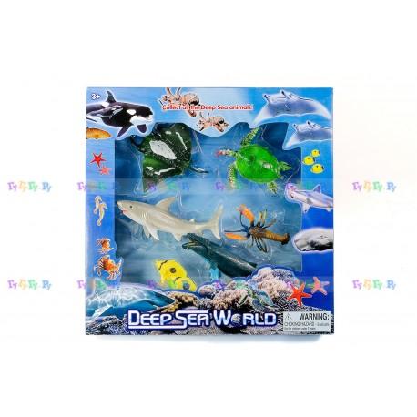 Набор фигурок Морские животные: Кит, Акула, Скат, Черепаха, Рак и Рыбки