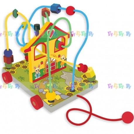 Деревянная игрушка лабиринт-каталка Домик