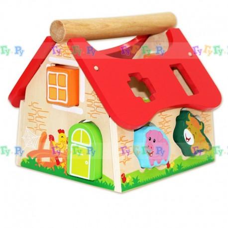 Деревянная развивающая игрушка Домик-сортер