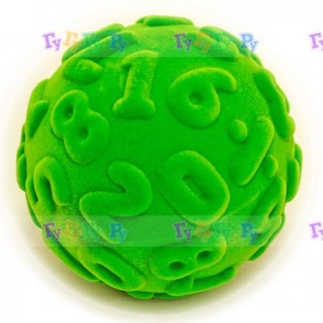 Мяч из натурального каучука с флокированным покрытием Цифры, 10 см