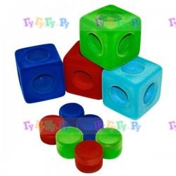 Набор мягких кубиков (4 шт) + соединительные блоки из натурального каучука с флокированным покрытием
