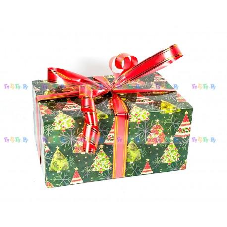 Подарочная коробка-трансформер: Нарядные ёлочки (22х32х16 см)