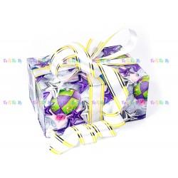 Подарочная коробка-трансформер: Сиреневые звезды и шары (19х9х13 см)
