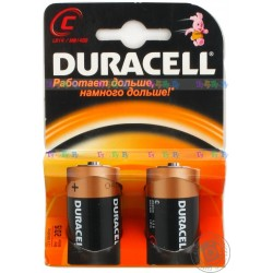 Батарейка Duracell С (MN1300 (LR20), 1.5В, щелочь (alkaline)). 2 шт. в упаковке.