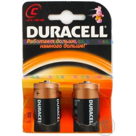 Батарейка Duracell С (MN1300 (LR20), 1.5В, щелочь (alkaline)). 2 шт. в упаковке.