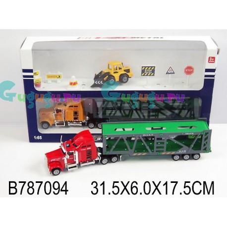 Набор: Контейнеровоз, трактор, дорожные знаки (27 см)