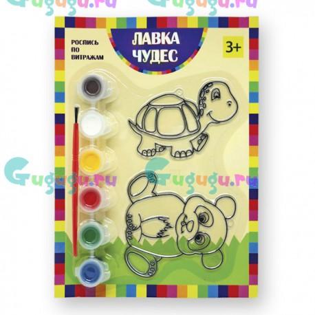 Детское творчество: Набор для росписи витража - Панда и черепаха