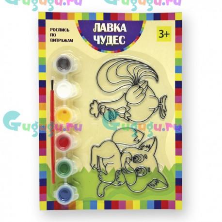 Детское творчество: Набор для росписи витража - Лиса и петух